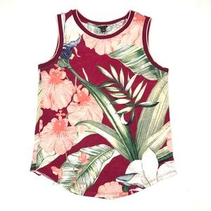 Ann Taylor Floral Leaf Printed 100% Linen Tank Top